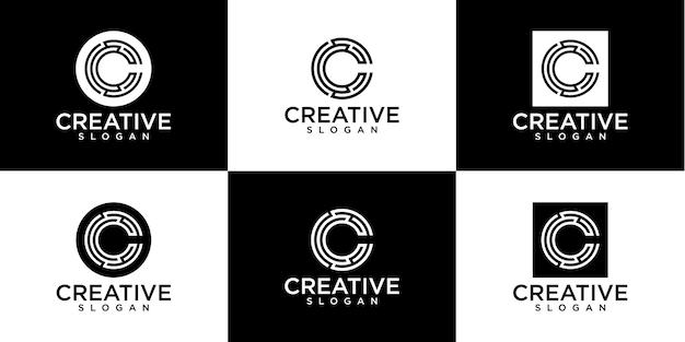 Ensemble de création de logo monogramme lettre c