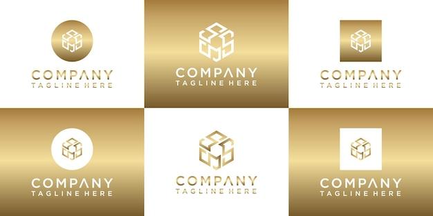 Ensemble de création de logo monogramme or créatif