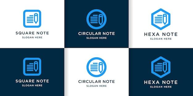 Ensemble de création de logo de note en hexagone, cercle et carré