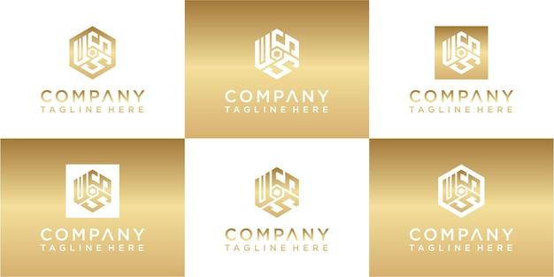 Ensemble de création de logo or monogramme hexagonal créatif