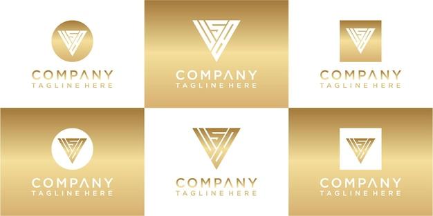 Ensemble de création de logo or monogramme triangle créatif