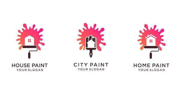 Ensemble de création de logo de peinture avec maison ou ville et pinceau. vecteur premium