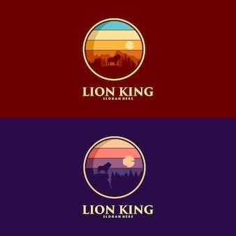 Ensemble de création de logo de roi lion