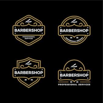 Ensemble de création de logo de salon de coiffure vintage emblème insigne