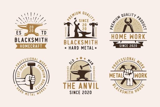 Ensemble de création de logo vintage de fonderie d'enclume de fer forgeron