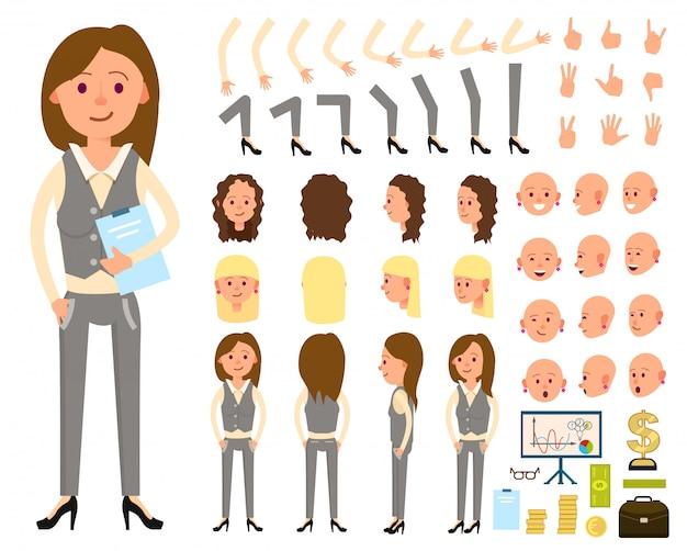 Ensemble de création de personnage femme d'affaires