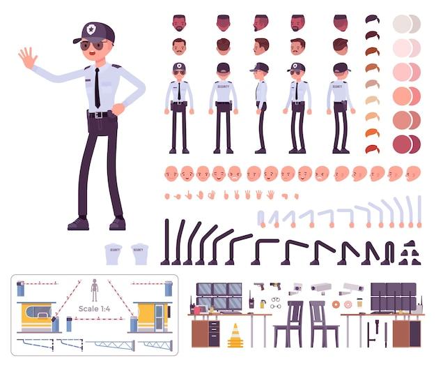 Ensemble de création de personnage de garde de sécurité masculin