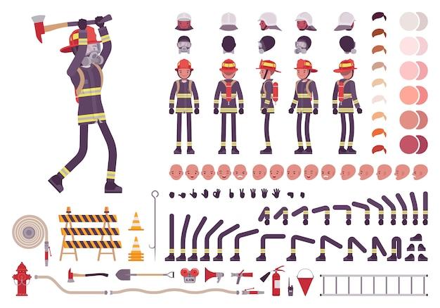 Ensemble de création de personnage de pompier