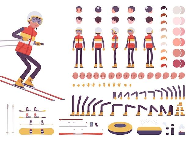 Ensemble de création de personnage de skieur