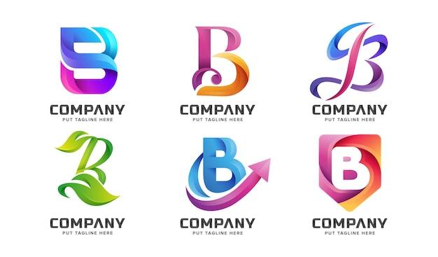 Ensemble de creative abstrat lettre initiale colorée b modèle de logo de modèle vectoriel