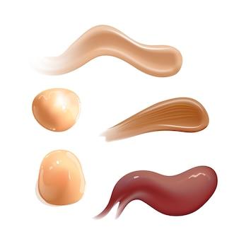 Ensemble de crème cosmétique réaliste frottis toner pour la peau de différentes couleurs de corps lotion frottis lisse