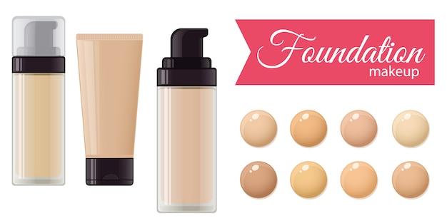 Ensemble de crème de fond de teint pour maquillages et palette de couleurs