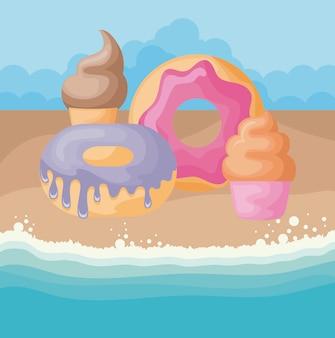 Ensemble de crème glacée avec beignets et cupcake à la plage