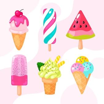 Ensemble de crème glacée design plat