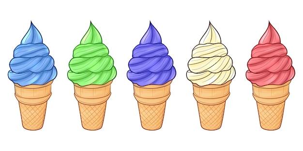 Ensemble De Crème Glacée Dessinée à La Main Mignonne Vecteur Premium