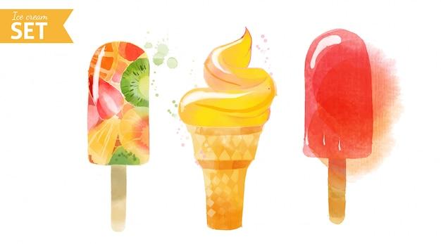 Ensemble de crème glacée. illustration aquarelle
