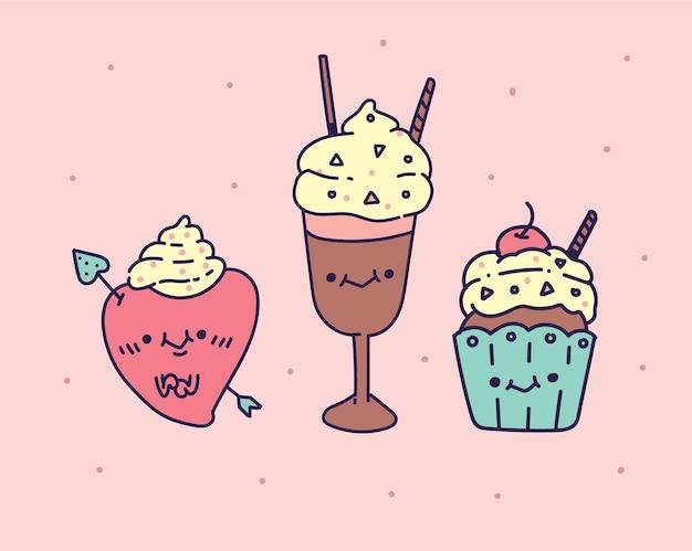 Ensemble de crème glacée isolée savoureuse colorée. illustration de la crème glacée. style de dessin