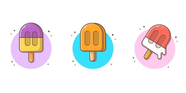 Ensemble de crème glacée linéaire