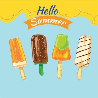 Ensemble de crème glacée mignonne d'été ou de sucettes glacées