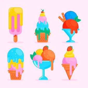 Ensemble de crème glacée plate