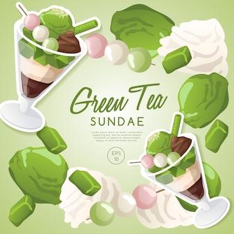 Ensemble de crème glacée, sundae de thé vert.