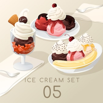 Ensemble de crème glacée.