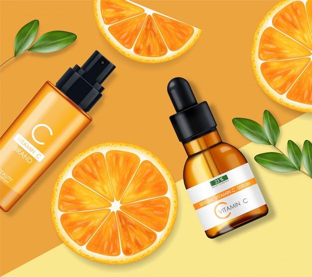 Ensemble de crème et sérum de vitamine c, entreprise de beauté, flacon de soins de la peau, emballage réaliste et agrumes frais, essence de traitement, cosmétiques de beauté, fond jaune