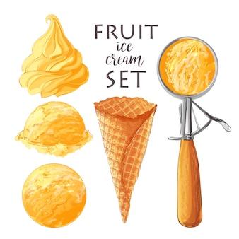 Ensemble de crèmes glacées de vecteur