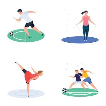 Ensemble de cricket, hockey, icônes de joueur de sport