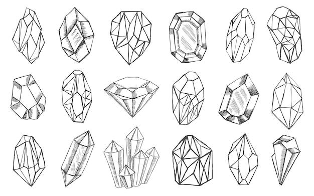 Ensemble de cristal illu dessiné à la main
