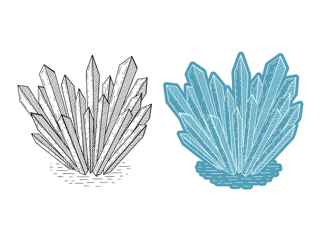Ensemble de cristaux. dessin au trait dessiné à la main. illustration vectorielle. isolé sur blanc. griffonnage, croquis. monochrome et couleur.
