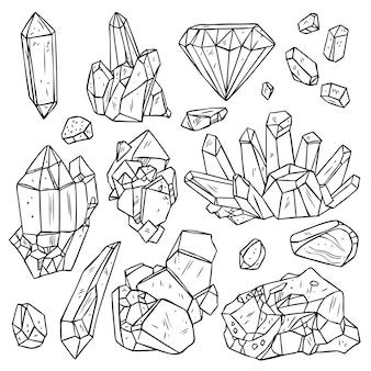 Ensemble de cristaux et de minéraux dessinés à la main.