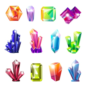 Ensemble de cristaux naturels précieux et brillants de toutes formes