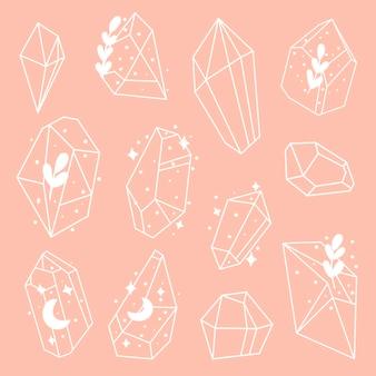 Ensemble de cristaux ou de pierres précieuses doodle ensemble de bijoux de collection de pierres précieuses ou de diamants