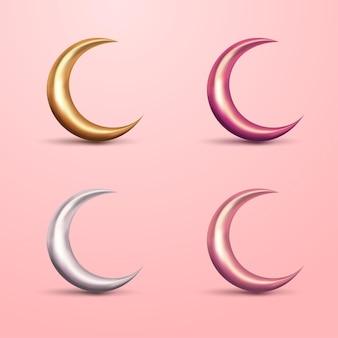 Ensemble de croissant de lune 3d