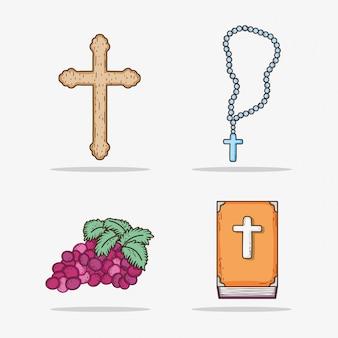 Ensemble croix avec chapelet et broche avec raisin