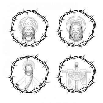 Ensemble de croix de jésus sacré avec couronne épines dessin à la main