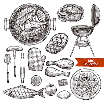 Ensemble de croquis de barbecue. collection de barbecue dessinés à la main