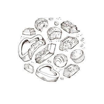 Ensemble de croquis de chocolats mordus. petits pains sucrés, barres, glacé, fèves de cacao. objets isolés situés autour sur un fond blanc