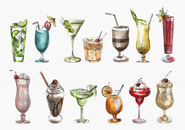 Ensemble de croquis colorés de cocktails. milkshake aux fraises, milk-shake au chocolat, cocktail vert dans un verre margarita, cocktail dans un snifter, cocktail rouge, milk-shake au cacao, cocktail martini aux olives