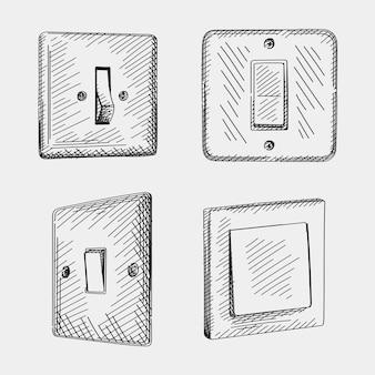 Ensemble de croquis de commutateurs dessinés à la main. l'ensemble comprend un interrupteur à bascule allumer et éteindre le mode, un interrupteur à bascule de style européen, un interrupteur à bascule leviton decora