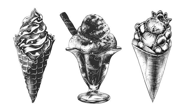 Ensemble de croquis de cornet de crème glacée, gaufre et sundae