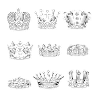Ensemble de croquis de couronne