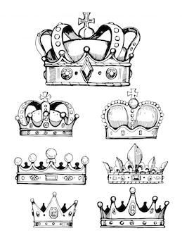 Ensemble de croquis de couronnes