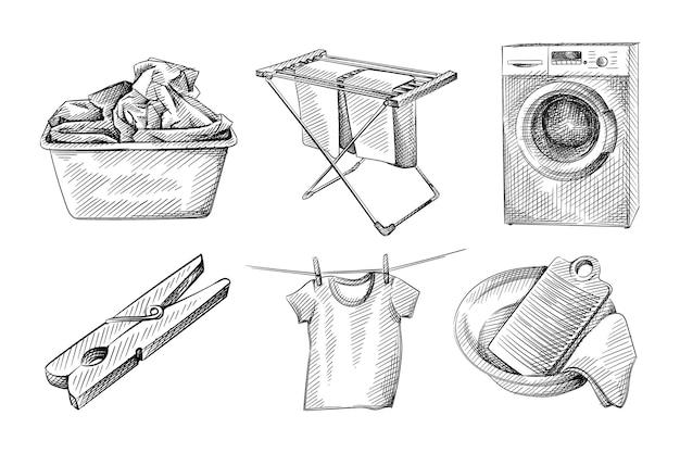 Ensemble de croquis dessinés à la main de blanchisserie, routine de lavage de vêtements.