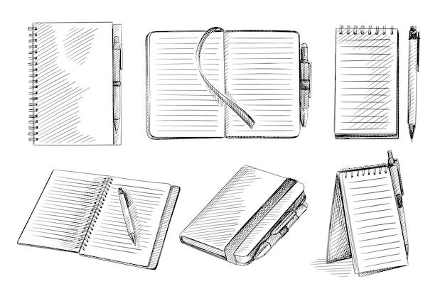 Ensemble de croquis dessinés à la main de cahiers sur fond blanc.