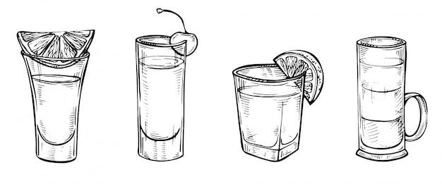 Ensemble de croquis dessinés à la main de cocktails alcoolisés.
