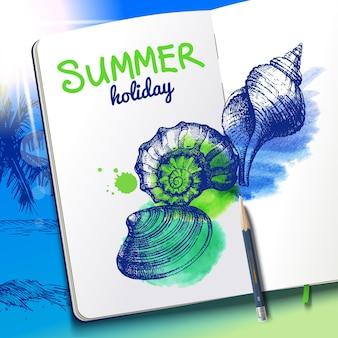 Ensemble de croquis dessinés à la main et de coquillages aquarelles. papier de carnet de croquis sur fond de plage de vacances. illustration vectorielle