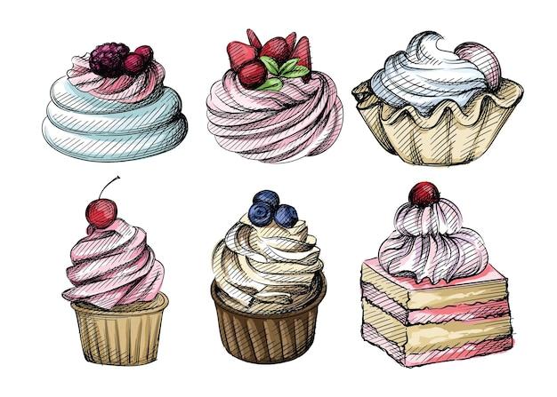 Ensemble de croquis dessinés à la main de différents petits gâteaux avec des baies, des fruits et des noix sur blanc