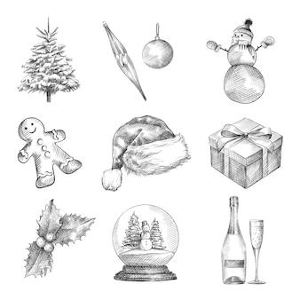 Ensemble de croquis dessinés à la main du nouvel an et de noël. l'ensemble comprend un arbre de noël, des jouets de noël, un bonhomme de neige, un bonhomme en pain d'épice, un bonnet de noel, une boîte-cadeau, du champagne et un verre, une boule de verre avec de la neige, du houx